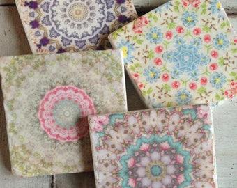 Soft Spring Floral stone coaster set