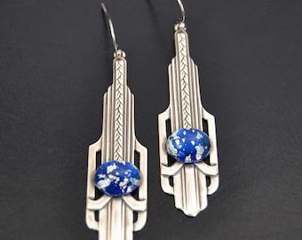 Art Deco Earrings Silver Vintage Earrings Vintage Glass Blue Opal Earrings Long Art Deco Earrings Handmade Jewelry