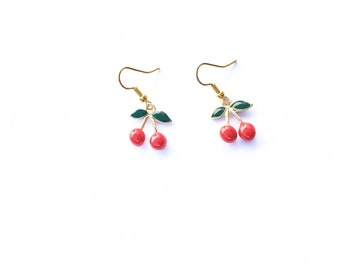 Handmade cherry earrings gold plated loop enamel cherries fruit geek Spring Rockabilly