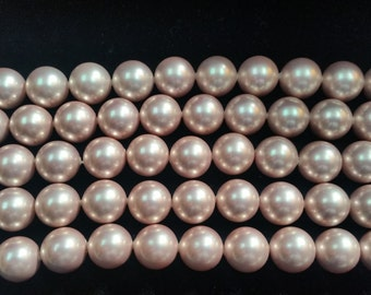 12MM Off Pink Shell Pear Round beads, Awasome color in shell pearl
