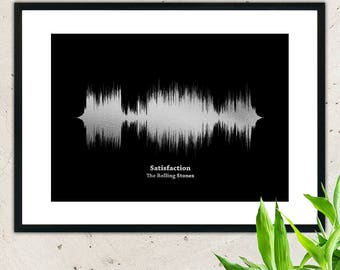 Print your favourite song in metallic silver foil,wall hanging,sound waves,sound wave art,soundwave,soundwave art,art print,wall decor,wave