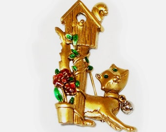 Vintage 1980s Kitty Cat with Green Rhinestone Eyes and Bird House on a Post Brooch Signed Danecraft