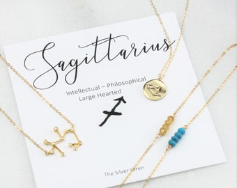 Zodiac Gifts, Sagittarius Zodiac, Gift Women, Sagittarius Necklace, Zodiac Jewelry, December, Birthstone, Birthday Gift, Constellation