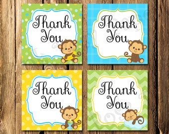 Printable Monkey Boy Baby Shower Thank You Tags - Instant Download