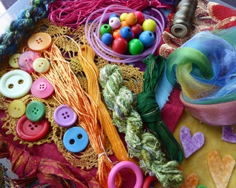 Hope jacare - Creativity pack  - hand dyed cotton threads, fabric and other goodies - CP24