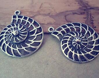 10pcs Antique silver shell charm pendant  28mmx30mm