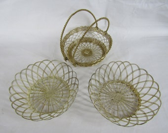 lot of 3 vintage silver wire woven baskets