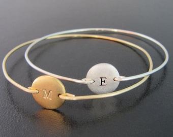 Initial Bangle Bracelet Gold or Silver, Personalized Gold Bangle Bracelet or Silver, Hand Stamped Bangle Bracelet