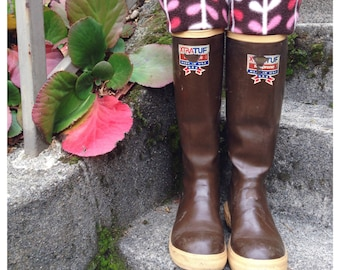 SLUGS Fleece Rain Boot Liners Brown With A Winter Branch Cuff, Fall Winter Fashion, Boot Cuff, Tall Socks, Boo Topper (Med/Lg 9-11 Boot)