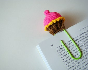 Crochet cupcake crochet bookmark planner clips office gift ideas teacher gift idea paper clip pink cupcake daily planner accessories yellow