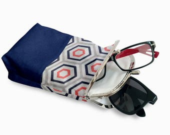 Double Pockets Glasses Case, Eyeglasses Case Double Pockets, Sunglasses / Reading Case, Toyal Blue Kiss Lock Case, Silver Frame