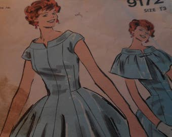 Vintage 1950's Advance 9172 Dress and Cape Sewing Pattern, Size 13 Bust 33