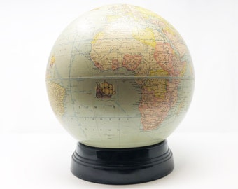 Unique Nautical Themed World War II World Globe - Rand McNally - Circa 1940 - Glass Base - Antique Patina - World War II Map