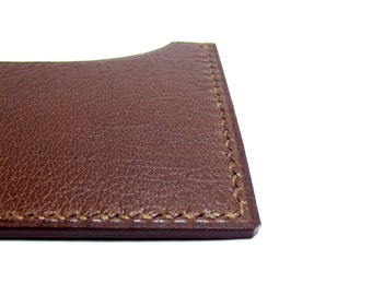 Chocolate Leather Card Holder, Business Card Case, Dark Brown, Leather Slim Wallet