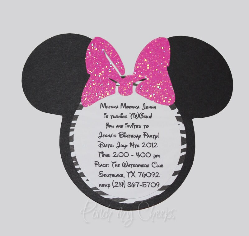 Minnie Mouse Invitations with Zebra Print Hot PINK Glitter bow