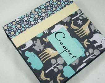 Baby Book Boy Photo Album Baby memory Book modern School Scrapbook personalized pregnancy journal Blue Gray Animal 4x6 5x7 Picture Z