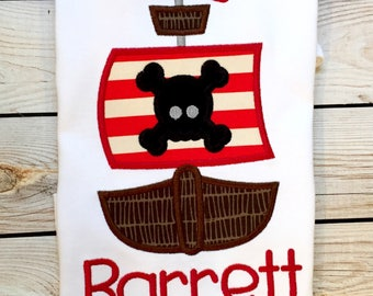 Boys pirate ship applique shirt or onesie with name, pirate party shirt, pirate shirt, pirate birthday, girls pirate ship shirt