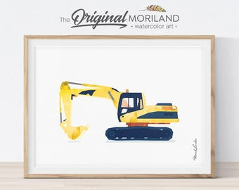 Excavator Print, Navy Blue, Truck Print, Digger Print, Toddler Room Decor, Construction Prints, Construction Birthday, Nursery Printable