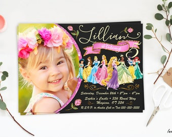 Princess invitation, Disney Princess Birthday Invitations, Disney Princess Invite, Princess Printables, DIY, Princess birthday invitation