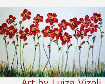 "Abstract Large 60"" Painting Original Oil on Canvas RED DAISY Flowers by Luiza Vizoli LARGE painting"