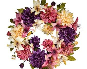 Dahlia & Lily Wreath | Front Door Wreaths | Spring Wreath | Easter Wreath | Mothers Day Gift | Outdoor Wreath | Door Decor