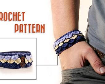 Crochet pattern for bracelet- crochet pattern - crochet jewelry pattern - diy gift ideas - crocodile cuff - easy pattern - PDF tutorial