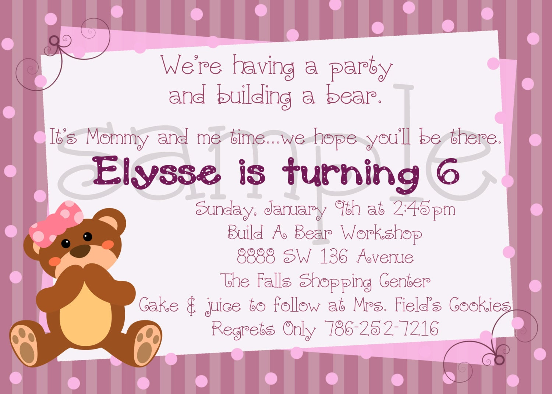 Build a Bear Inspired Birthday Invitation