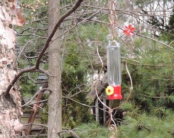 Hummingbird Nectar Feeder with Copper Hanger Red Metal Flower