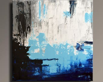 """ORIGINAL ABSTRACT PAINTING 36"""" White Gray Blue Black Painting Canvas Art Contemporary Abstract Modern Art wall decor #SQ05i8"""