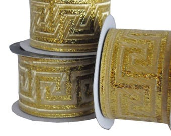 Gold , Greek Key , Woven Jacquard Ribbon Trim