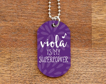 Viola is my Superpower - Purple Dog Tag Necklace for Musicians