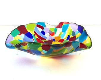 Fruit Bowl, Glass Bowl, Decorative Bowl, Colorful Bowl, Stained Glass, Glass Art