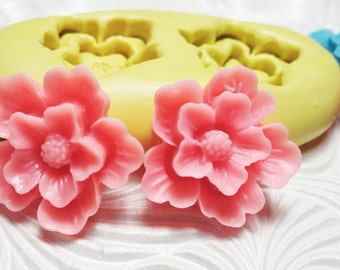 FLOWER DUO Mold Silicone Flexible Push Mold for Resin Wax Fondant Clay Fimo Ice 1630