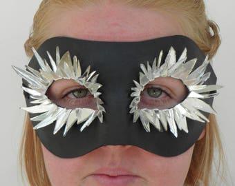 Black spiky silver mirror eyelash mask with ribbon ties
