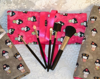 Charming cosmetic case in pure cotton Japanese - Fuchsia dolls theme
