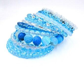 Blue beaded bracelet, memory wire bracelet, blue wrap bracelet, blue bracelet, cuff bracelet, coil bracelet, crystal bracelet