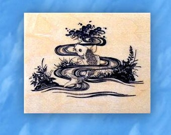 Japanese KOI mounted rubber stamp, Asian, fish pond, underwater, oriental, Sweet Grass Stamps No.12