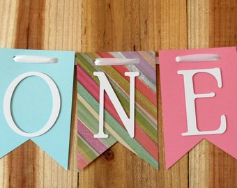 Blue, Glitter Striped & Pink High Chair Banner, Happy Birthday Banner, One Banner, I Am One Banner, I Am Two Banner