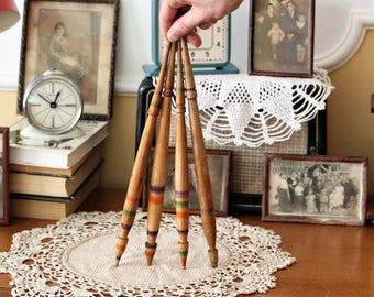 Wood Spindles - Primitive Bulgarian Spindles Set of 4 - Antique Spindles - Wool Spindles - Turned Wooden Spindles - Rustic Decor