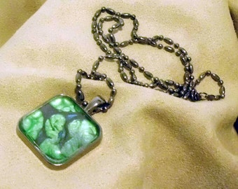 PROLIFERANT - Unique OOAK art necklace - GREEN_FUSION, fertility symbol, life-force, new growth - signed and dated - handmade wearable art