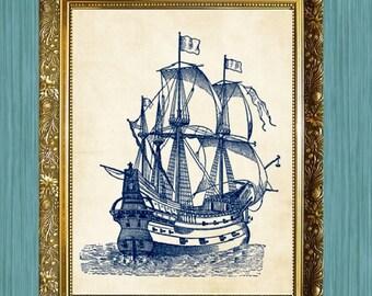 Sailing Ship Art Print Bathroom Print 8 x 10 Ocean Art Nautical Art Print Blue Boat Print