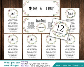 DiY Printable Wedding Seating Chart Template - Instant Download - EDITABLE TEXT - Spring Flowers, Wreath - Microsoft® Word Format HBC8n