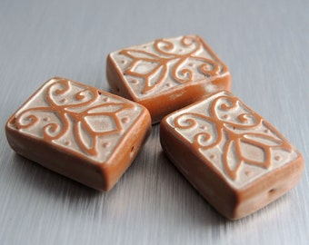 Polymer Clay Rectangle Beads - Terra Cotta and Cream - Tulip Design - Set of 3