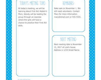 Instant Download! Scout Meeting Flyer in Bright Blue - Editable Printable PDF