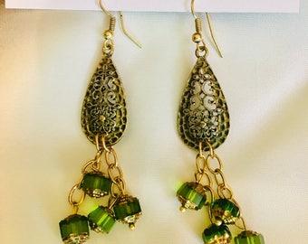 Green Droplet Earrings