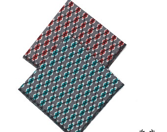 Blue and Grey Argyle Pocket Square, Red and Grey Pocket Square, Mens Argyle Pocket Square, Mens Pocket Square, Groomsmen Handkerchief