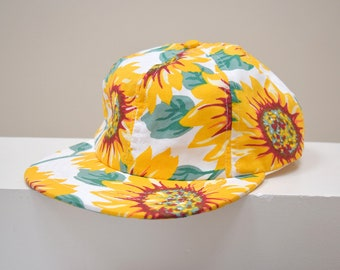 Vintage Sunflowers Cap, American Apparel, Flower, White, 1990s Sunflower Print Cap,Spring 90s Clothing