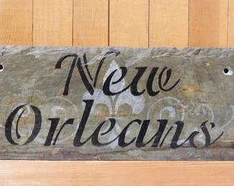 New Orleans Fleur De Lis Sign on Recycled New Orleans Roofing Slate