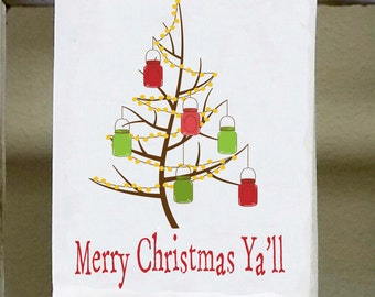 "Christmas towel, Mason Jar Christmas Tree, ""Merry Christmas Ya'll"", Christmas decor, southern christmas"