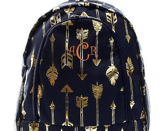 Monogrammed Backpack Personalized Gold Arrow Navy Backpack Personalized Backpack Kids Backpack Girls Backpack Boys Backpack